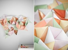This paper triangle web by Three Nations blog artist Marsha Golemac is reminding me of our own post right here on CRAFT and MAKE of my 3D Geometric wall sc