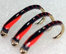Black buzzers with red rib and hot orange cheeks
