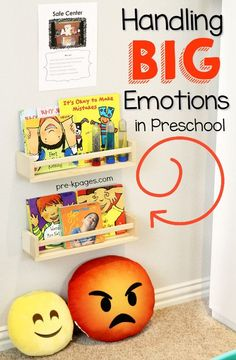 Calm Down Area for Preschool Instead of Time Out. Tips for helping your preschool, pre-k, or kindergarten kids handle big emotions at home or school.