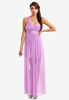 Add some evening glamour to your wardrobe with this gorgeous gown from Manoukian. Features ruched detailing on bust in flowy fabric and a fitted waist for that elegant silhouette. Great choice for parties or social events.