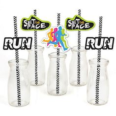 Set The Pace - Running - Paper Straw Decor - Track, Cross Country or Marathon Striped Decorative Straws - Set of 24