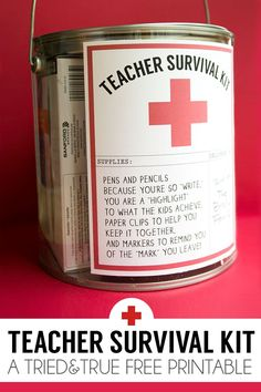 This Teacher Survival Kit goes together super quickly with a few office supplies, a paint can, and the Tried & True free printable label