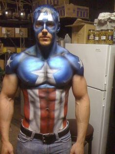 Captain America Face paint/Body #Painted Body #Paint Body #Painting Body| http://paint-body.blogspot.com