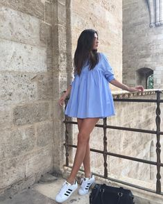 Ideas for blue tshirt dress outfits Simple Dresses, Cute Dresses, Casual Dresses, Short Dresses, Casual Outfits, Summer Outfits, Summer Dresses, Tshirt Dress Outfit, Blue Shirt Dress