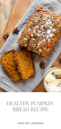 The BEST Healthy Pumpkin Bread recipe made with real pumpkin, bananas, whole wheat flour, and pumpkin spice! Sweetened with honey, maple syrup, and a little bit of brown sugar, this dairy-free pumpkin bread is SO delicious. Perfect as a healthy dessert or breakfast recipe that everyone will love! Lemon Recipes, Apple Recipes, Pumpkin Recipes, Fall Recipes, Soup Recipes, Healthy Pumpkin Bread, Pumpkin Loaf, Pumpkin Spice Syrup, Just Bake