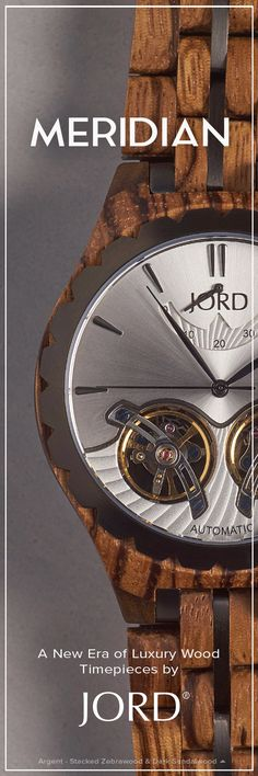 Meridian - Argent - Zebrawood & Dark Sandalwood - Mens Wood Watch by JORD Wooden Watches For Men, Men's Watches, Wood Watch, Steel, Band, Luxury, Wooden Clock, Sash, Bands