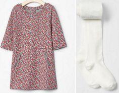 Girl GAP Lot Floral Grey Zip Shift Dress 3/4 Sleeve Tights Play School Cotton 5T #GapKids #Everyday #GAP689033 #GAP693177 #GAPfloralgreydress