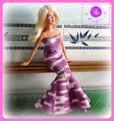 Crochet fashion doll mermaid dress - Maz Kwok's Designs