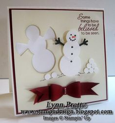 Snowman Snow Angel Punch Art Card. I think it would also look good on  a scrapbook page.