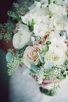 roses, freesia and seeded eucalyptus