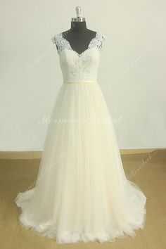 Romantic open back lace tulle wedding dress with pale blush skirt