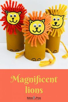 Don't throw away those old toilet rolls! Instead make these paper roll lions with this fun craft for kids. Turn a humble paper roll into the king of the jungle in this adorable toilet roll craft for k Animal Crafts For Kids, Paper Crafts For Kids, Easy Crafts For Kids, Toddler Crafts, Preschool Crafts, Art For Kids, Summer Crafts, Craft Kids, Lions For Kids