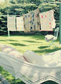 quilts on a line...heaven in a hammock