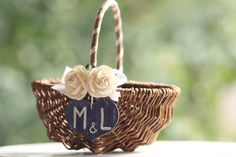 Personalized flower girl basket by VVDesignsShop on Etsy, $36.90