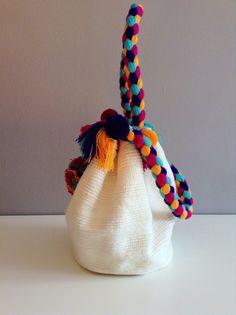Wayuu White Pom Pom Tote Bag NEW STYLE by Bluevitasw on Etsy, $75.00