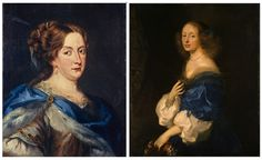 (left) A painting of Sweden's Queen Christina by Jacob Ferdinand Voet; (right) a painting of Countess Ebba Sparre by Sébastien Bourdon.