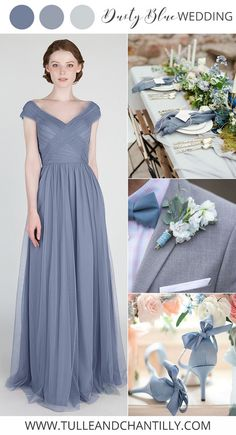 dusty blue weddding colors and tulle bridesmaid dress #blueweddings #dustyblue #bridesmaiddress #bridalparty #weddingcolors