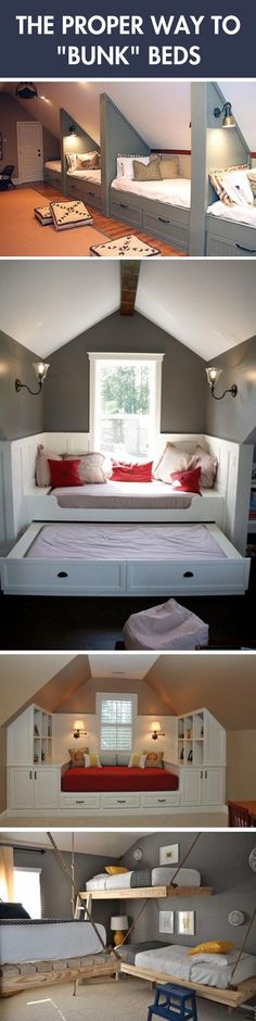 The Coolest Bunk Beds. Would be so fun in an attic space for the kids to have sleepovers and not disturb anyone.