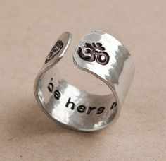 Be here now secret message ring, yoga ring, budda, OM, wideband hammered ring, customizable yoga ring, om ring buddha ring, yoga jewelry on Etsy, $26.50