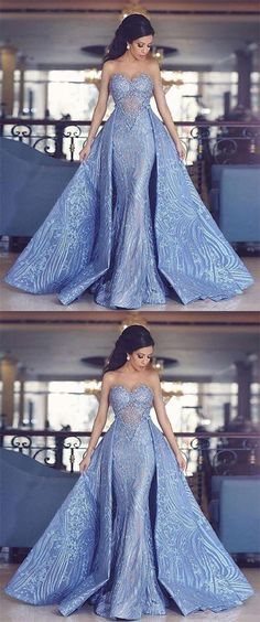 Elegant Sweetheart Mermaid Dress With Detachable Train.