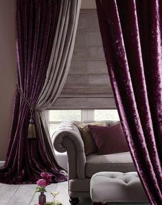 Ideas for farmhouse curtains bedroom floors Velvet Bedroom, Velvet Drapes, Purple Curtains, Drapes Curtains, Winter Curtains, Luxury Curtains, Shower Curtains, Sheer Drapes, Bedroom Curtains