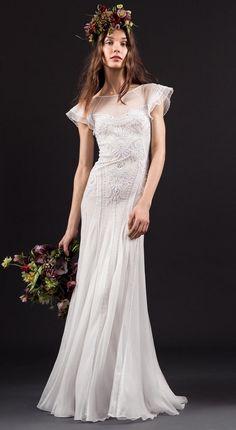short sleeved scooped neck ivory wedding dress - Temperley spring 2017 wedding dresses | fabmood.com #shortsleeveweddingdress #shortsleeve #weddingdresses #weddingdress