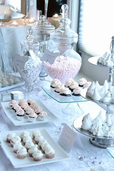 Silver & Blush Dessert Table (cupcakes, cake pops) by Sweet Lovely Bakes.