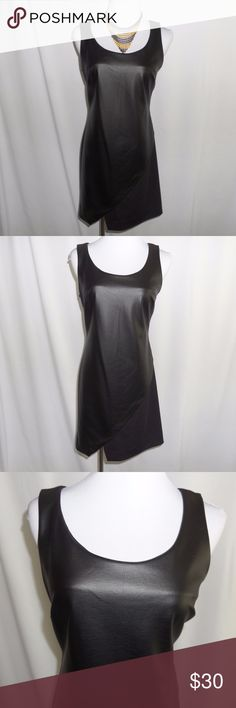 """HP 4/8Sexy Black Mini Dress Mini cocktail/club dress in black. Faux leather front. Angled split in front. Sleeveless. Side zipper. Polyester blend. New with tags.   Length: 34.5"""" Armpit to armpit: 17"""" Waist: 30"""" Hips: 34""""  (Necklace available in the closet) Metaphor Dresses Mini"""