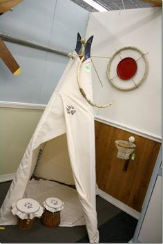 Habitat Restore Restyle Event: Kerri and Trevor's Playroom - teepee from old skis and a tablecloth