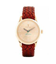 Triwa Lansen Rose Gold Braided Strap Watch in Brown