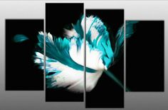 Large Teal Turquoise White Black Floral Canvas artwork 4 pieces multi panel split canvas completely ready to hang hanging cord attached, han...