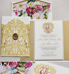 Regal wedding invite with custom crest, gatefold and wax seal. A bright floral envelope liner gives the suite a pop of color! Watercolor Wedding Invitations, Wedding Invitation Design, Wedding Stationery, Royal Invitation, Envelope Liners, Floral Watercolor, Save The Date, Pink And Gold, Invites