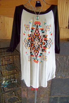 Aztec print baseball tee top stretch woman sizes