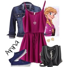 Anna by violetvd on Polyvore featuring polyvore fashion style maurices Vans Yves Saint Laurent Kate Spade Accessorize Disney