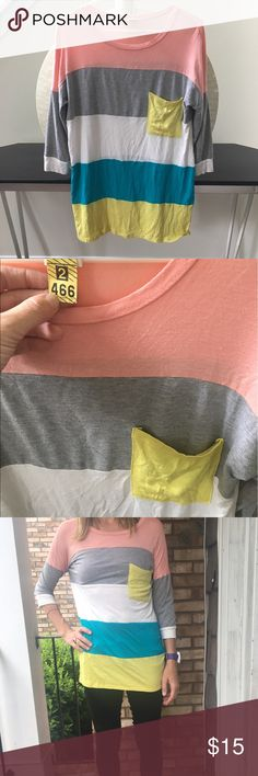Color blocked pocket tee Just picked up from the dry cleaners! In excellent condition. 3/4 sleeve cotton blend top. Thanks for looking.💕 Anthropologie Tops Tees - Short Sleeve