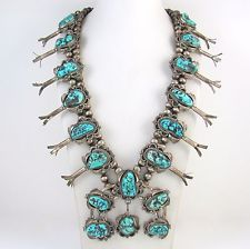 Old Pawn Navajo Sterling Silver Turquoise Squash Blossom Necklace Signed │RS LXX