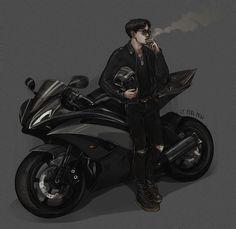 All hail black haired Hobi! ♥♥♥ biker! AU? GANG! AU? Idk