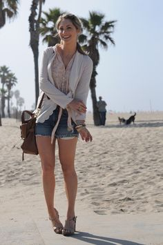 love this outfit!- H&M Blazer, Planet Blue Top, Vince Shorts, Philosophy Platforms, Mulberry Bag