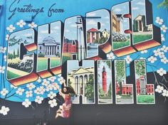 """Take a picture in front of the """"Greetings From Chapel Hill"""" mural Chapel Hill North Carolina, Durham North Carolina, Unc Chapel Hill, University Of North Carolina, North Carolina Colleges, North Carolina Vacations, Street Mural, Street Art, All I Ever Wanted"""