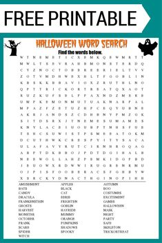 Free Halloween Word Search printable worksheet with Halloween themed vocabulary words. Perfect for the classroom or as a fun holiday activity at home. Halloween Words, Halloween Bottles, Halloween Coloring, Fall Coloring, Halloween Word Search Printables, Halloween Worksheets, Halloween Activities For Kids, Holiday Activities, Holidays Events