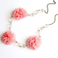 Pom Pom and Crystal Bib Necklace