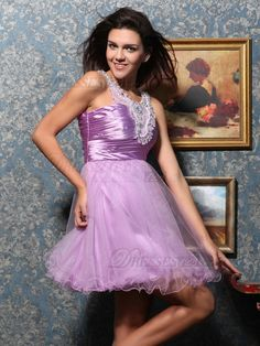 VILAVI Lovely A-line Tulle Short/Mini Crystal Homecoming Dresses, Homecoming Dresses