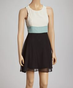 Loving this Mint & Black Color Block Dress on #zulily! #zulilyfinds