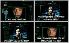 """I was going to make you an omelet and tell you!"" One of the best parts of Iron Man 2 Marvel Dc, Marvel Funny, Marvel Memes, Marvel Comics, Tony And Pepper, Dc Memes, Funny Memes, Iron Man Tony Stark, Downey Junior"