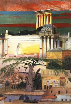 Its About Time: Hungarian Modern Artist Csontváry Kosztka, Tivadar Paints a Bold, Colorful Lebanon Baalbek, Post Impressionism, True Art, Modern Artists, Hanging Art, Landscape Paintings, Folk Art, Contemporary Art, Art Gallery