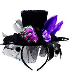 makers halloween day of the dead skull head headband purple