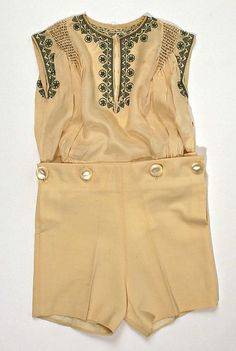 """Late 1920s silk and wool boy's outfit. Label (in blouse): """"L. Rouff/Rue Royale/Paris.""""  Via MMA."""