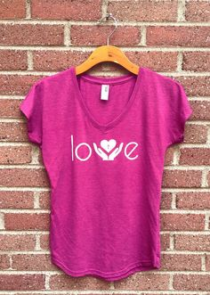 Love Shirt  V Neck Womans Tee Pink Helping Hands by SimplyOneTees