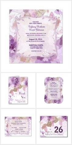 Watercolor Blossoms Purple Wedding. Elegant floral Wedding design with soft watercolor appearance has purple and mauve flower blossoms over a white background.