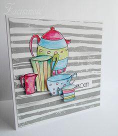 Ręcznie robiona kartka z elementami malowanymi kredkami akwarelowymi/ #handmade #card #coffee